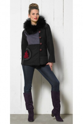 Original jacket with collar effect ostrich feather, pattern Japanese style rosette