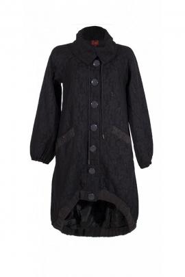 Manteau long original, base asymétrique, mailles brodées