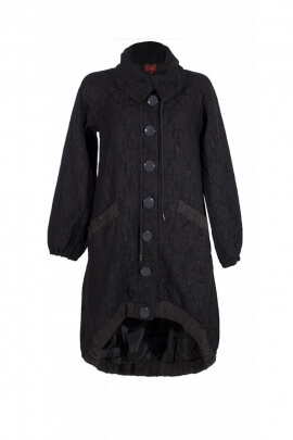 Original long coat, base asymmetrical, embroidered mesh