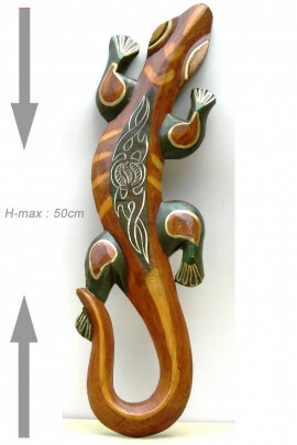 Carved wooden wall Gecko - Lizard small model, ethnic style and world Deco
