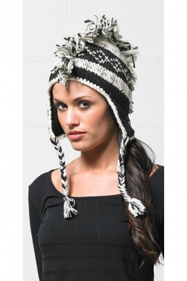 Bonnet cache-oreilles décontracté, en laine style punk