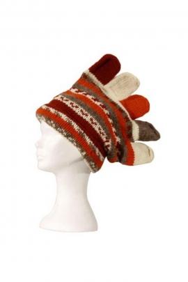 Bonnet péruvien original, en laine, style gant