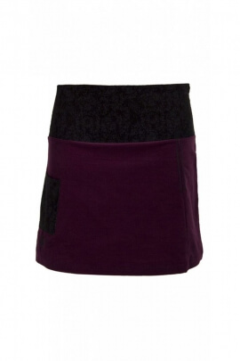 Velvet skirt, embroidery and urban stitching style, light and color