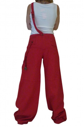 Loose fit trousers for women, thick cotton, shoulder strap and pockets