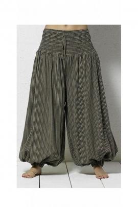 Pantalon bouffant original, à rayures, décontracté, en coton