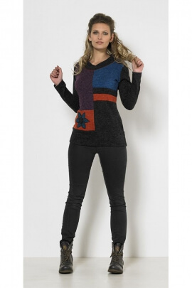Original chic sweater, knitted knit, V-neck, patchwork of colors
