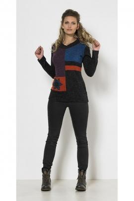 Pull chic original, en maille tricotée, col V, patchwork de couleurs