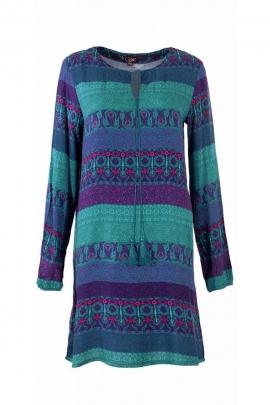 Robe chic courte, cordelettes à nouer et à pompons, colorée et originale
