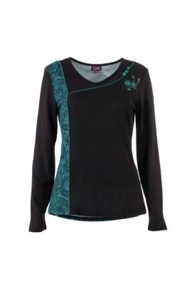 Casual T-shirt plugged chug, long sleeves, hippie chic, paisley print side