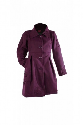 Manteau long très chic à gros boutons, évasé sous buste, patchs fleuris