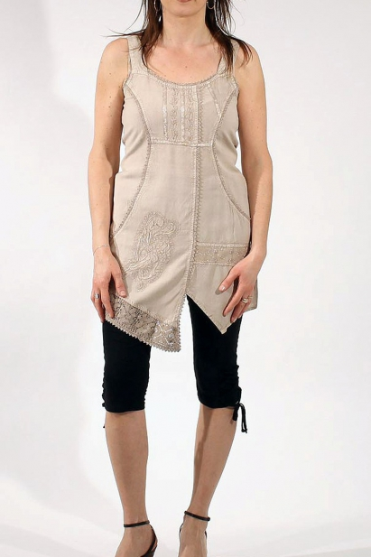 Ornate Print Viscose Stretch Jersey Dress Fabric EM-1086-Brown-M