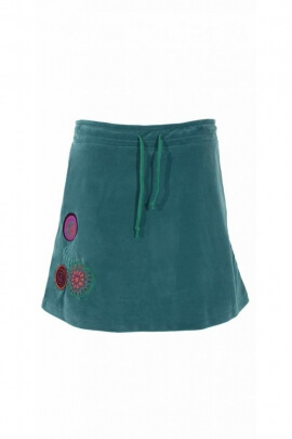 Chic and original hippie short skirt, ethnic and floral inspiration in soft velvet