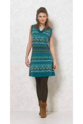 Très belle robe colorée, ambiance aztèque avec col bénitier du plus bel effet