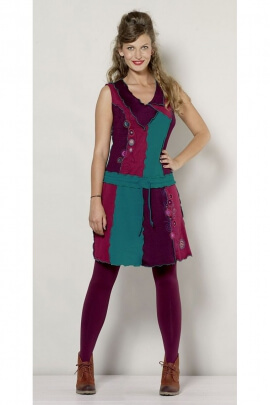 Casual Dress with Assembled Overlock Fabric Pieces, Balladin Style