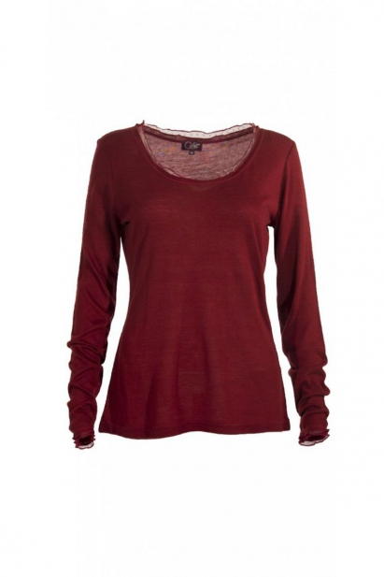 Tee-shirt à col large, style classique, manches longues et dentelles