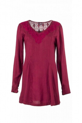 Tunic mid-long, low trapeze fluid and light, lace up adjustable back