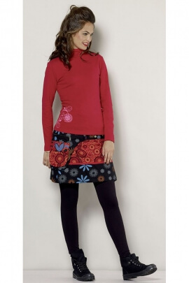 Miniskirt winter cotton, hippie chic, settings, pressures and side pocket