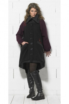 Manteau long bicolore, style original, avec broderies au dos