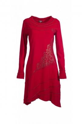 Beautiful dress mid-long original, fine finish and asymmetric printed chatelain