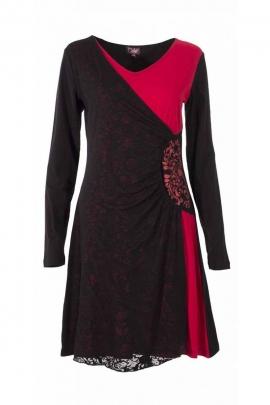 Robe mi-longue colorée et romantique en voile dévoré, effet drapé hanches
