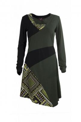 Jolie robe originale asymétrique, manches longues et col V, imprimée et colorée
