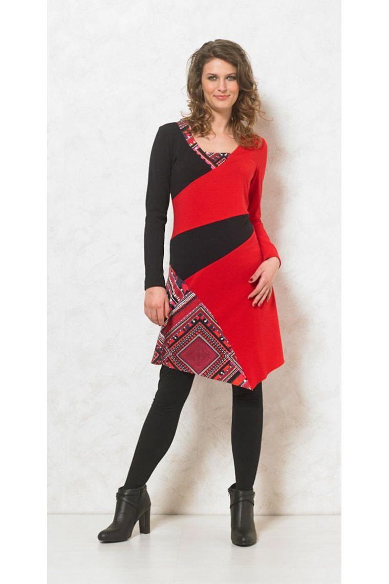 robe d hiver color e et originale asym trique manches longues et col v. Black Bedroom Furniture Sets. Home Design Ideas