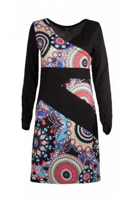 Jolie robe noire d'hiver, effet croisé au buste, motifs circulaires