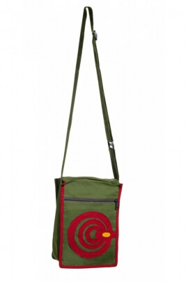 Bag hippie cotton, double roundel surpiquée and colorful