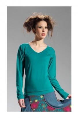 Tee-shirt uni et simple, passe-partout, manches longues et col V