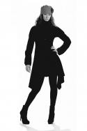 Manteau noir original, cintré, laine tweed, style hippie chic
