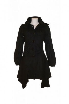 Manteau noir original, cintré, laine tweed, style hippie chic