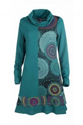 Robe pull hippie chic col roulé, motifs mandalas