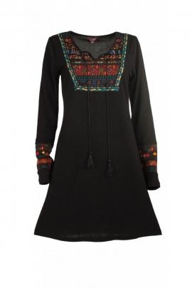 Robe décontractée et originale avec plastron imprimé oriental