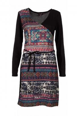 Dress cache-cœur asymmetric, printed, ice, vintage casual