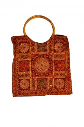 Carrier bag cotton, embroidered patterns hindu in style