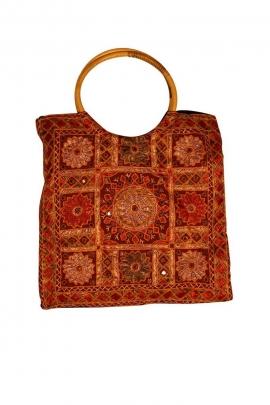 Sac cabas en coton, motifs brodés style hindou