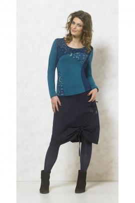 Tee-shirt original manches longues, imprimé coloré, patchwork et surpiqûre