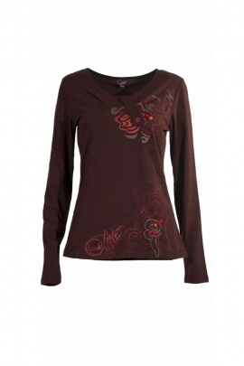 T-shirt tendencia elegante, mangas largas, impresos y bordados