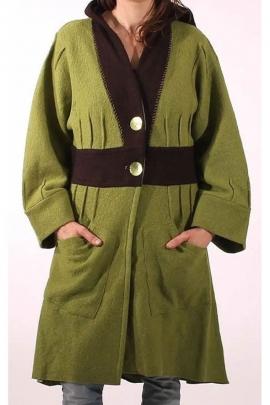 Manteau long bicolore à capuche, en laine bouillie deux boutons nacre