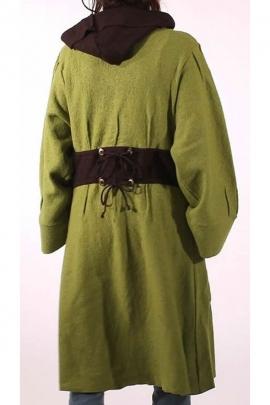 Abrigo largo de dos tonos con capucha, lana hervida con dos botones de la madre-de-perla