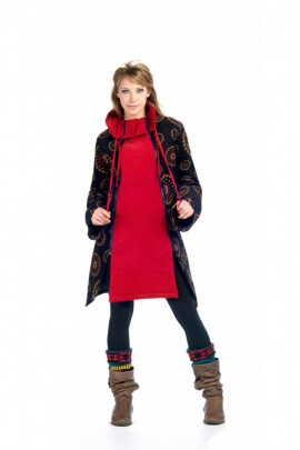 Coat original velvet cotton double zip and high collar