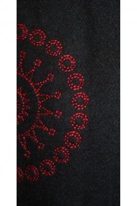 Manteau hippie chic, effet laine bouillie, col montant et bas en pointe