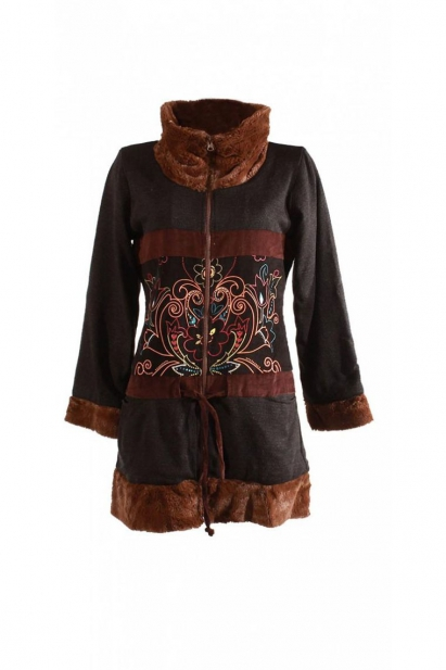 Warm jacket casual, pattern, indian floral, velvet and faux fur