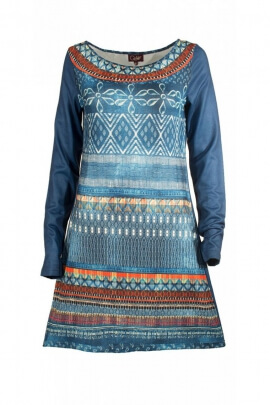 Robe jean à manches longues motifs originaux, style hippie chic