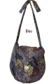 Bag mandy casual, printed batik and button mother-of-pearl, adjustable length