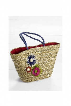 Bag straw romantic, bohemian-style fabric lining