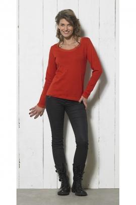 Tee-shirt uni tout en coton, col rond et manches longues