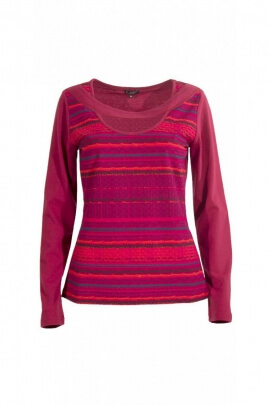 T-shirt, elegante collar de cuello barco en encaje, de rayas, de colores