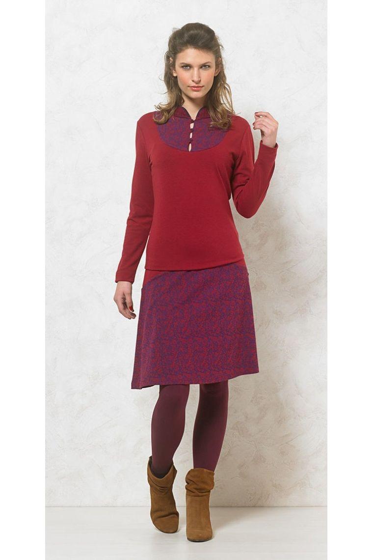 Tee-shirt coloré, effet plastron imprimé, à manches longues