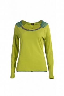 T-shirt feminine and chic, wide-mouth, shouldered lace